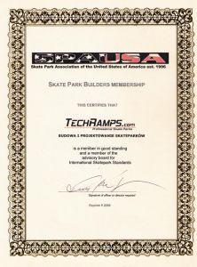 Certyfikat wydany dla Techramps przez SPAUSA - Skate Park Association of the United States of America