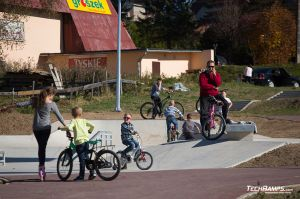 Concrete monolith skatepark in Maniowy in  Małopolska district