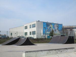 Modułowe przeszkody w skateparku w Tarnowskich Górach