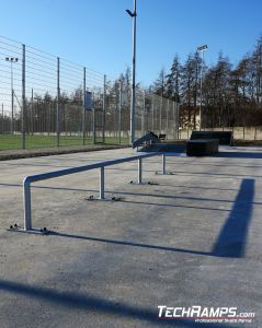 Szamotuly and straight rail on skatepark
