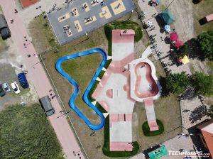 Widok z góry - pumptrack i skatepark Sławno