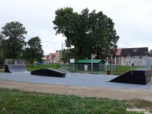 Wooden obstacles on skatepark in Orzysz