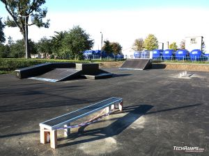 Wooden obstacles on skatepark in Piotrkow Kujawski
